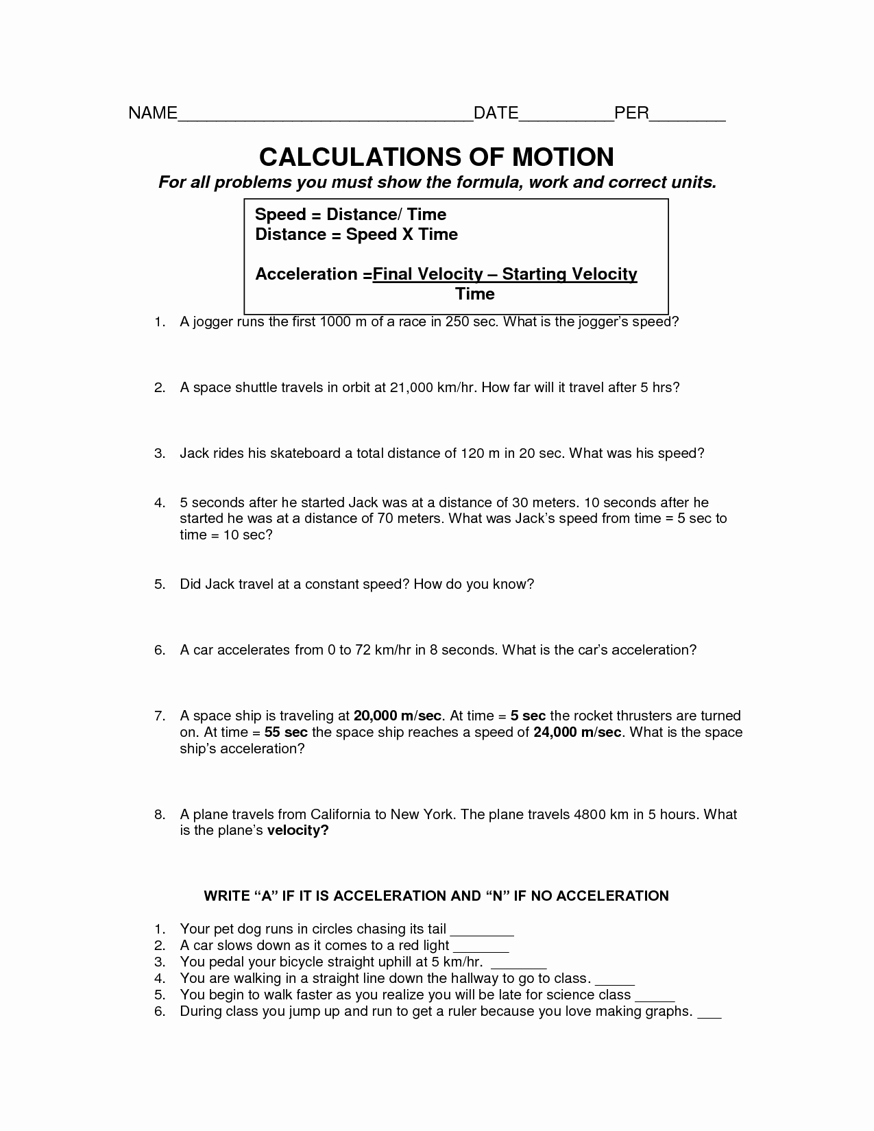 Velocity Worksheet with Answers Best Of 16 Best Of Speed and Motion Worksheet Speed and
