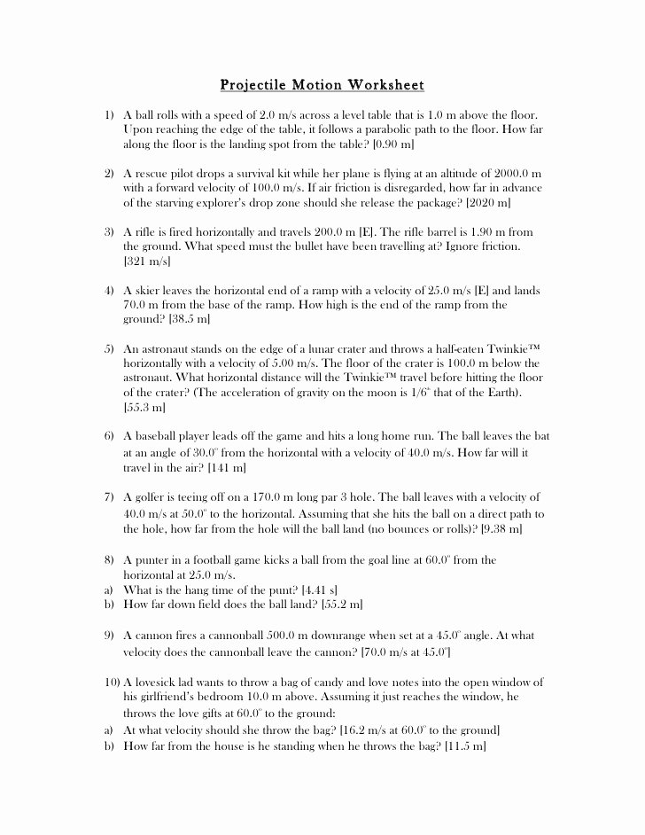 Velocity Worksheet with Answers Best Of Projectile Worksheet