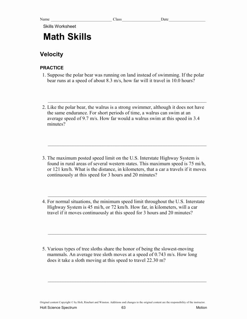 Velocity Worksheet with Answers Fresh Speed and Velocity Practice Problems Worksheet Answers