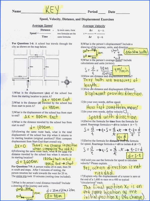 Velocity Worksheet with Answers Lovely Average Speed and Average Velocity Worksheet Answers