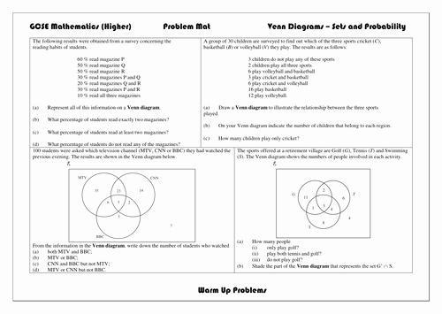 Venn Diagram Word Problems Worksheet Beautiful Gcse 9 1 Venn Diagrams by Aliali