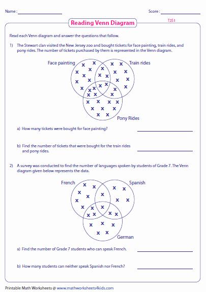 Venn Diagram Word Problems Worksheet Elegant Venn Diagram Word Problems Worksheets Three Sets