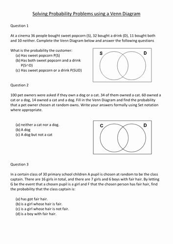 Venn Diagram Word Problems Worksheet Fresh Venn Diagram Lesson by S Curzon Teaching Resources Tes