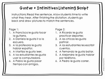 Verbs Like Gustar Worksheet Awesome Gustar Plus Infinitive Spanish Drawing Activity by island