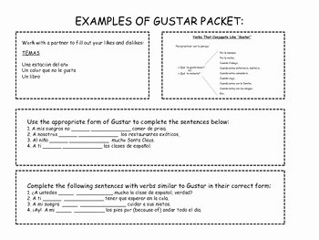 Verbs Like Gustar Worksheet Beautiful Spanish Verb Vocabulary Gustar by Sra Casado Spanish and