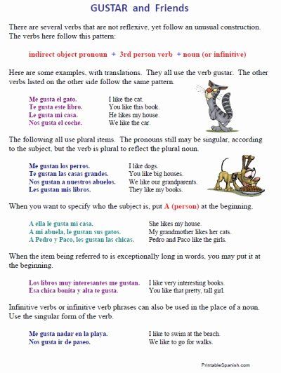 Verbs Like Gustar Worksheet Elegant Verbs Like Gustar Worksheet the Best Worksheets Image