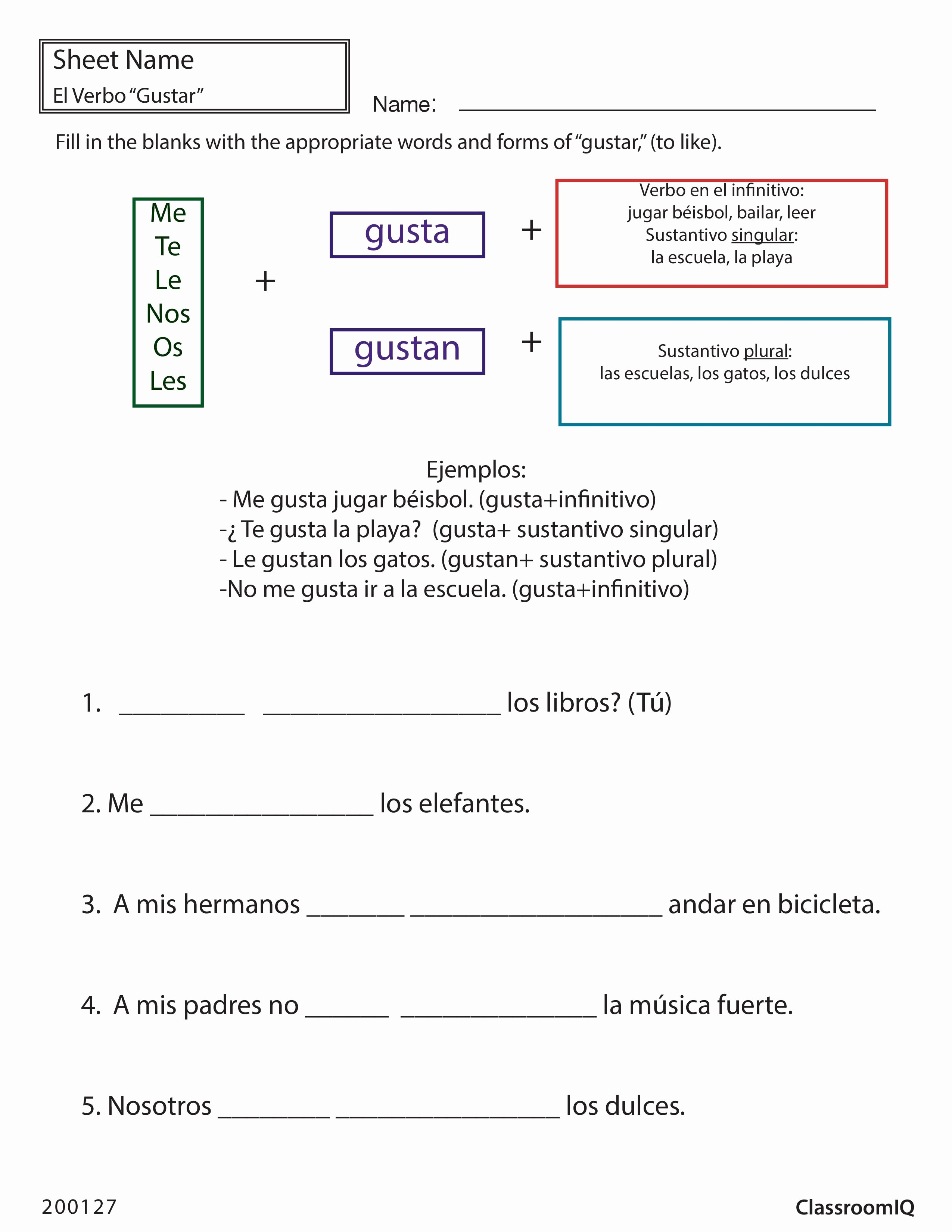Verbs Like Gustar Worksheet Fresh Gustar to Like Spanishworksheet Newteachers Printable