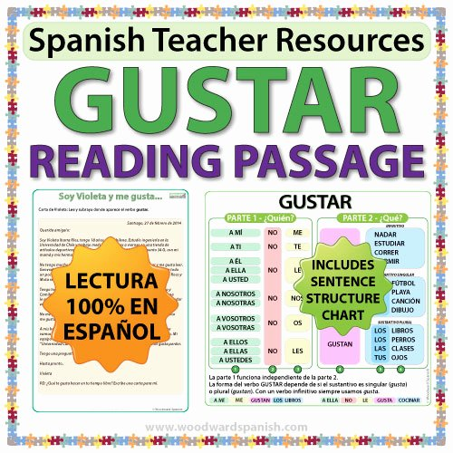 Verbs Like Gustar Worksheet Luxury Gustar – Spanish Reading Passage and Worksheets