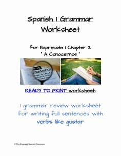 Verbs Like Gustar Worksheet Unique Spanish 1 Project Subject Pronouns the Verb Ser and