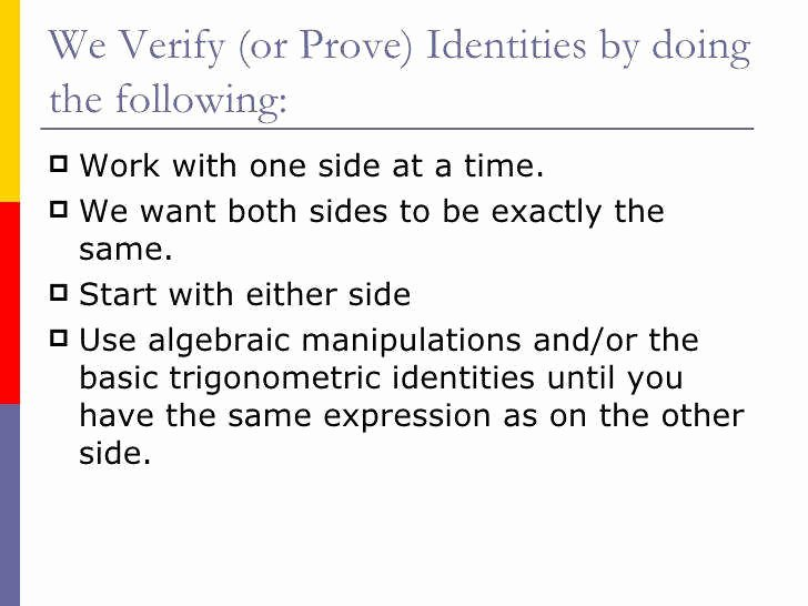 Verify Trig Identities Worksheet Awesome Verifying Trigonometric Identities Worksheet