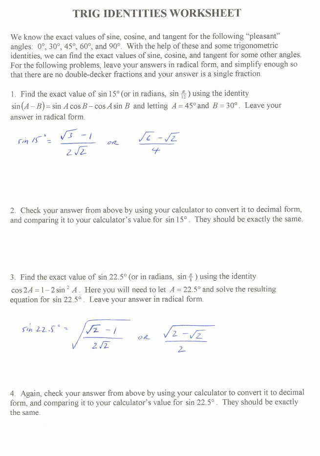 Verify Trig Identities Worksheet Beautiful Trig Identities Worksheet 3 4