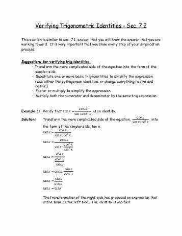 Verify Trig Identities Worksheet Elegant Verifying Trigonometric Identities Worksheet