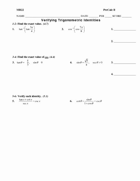 Verify Trig Identities Worksheet Fresh Trigonometric Identities Lesson Plans & Worksheets
