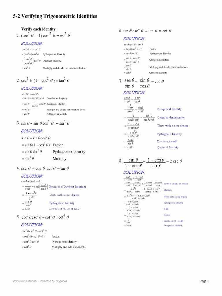 Verify Trig Identities Worksheet New Worksheet Verifying Trigonometric Identities Worksheet