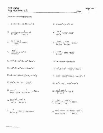 Verifying Trig Identities Worksheet Awesome Verifying Trigonometric Identities Worksheet