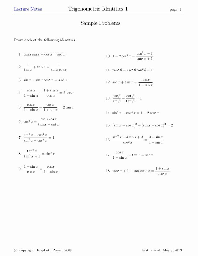 Verifying Trig Identities Worksheet Beautiful Trigidentities1