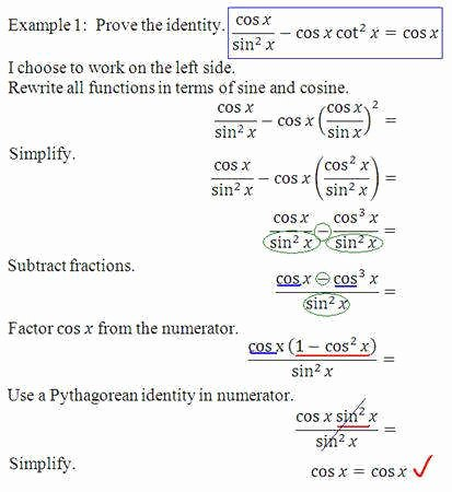 Verifying Trig Identities Worksheet Inspirational Verifying Trigonometric Identities Worksheet