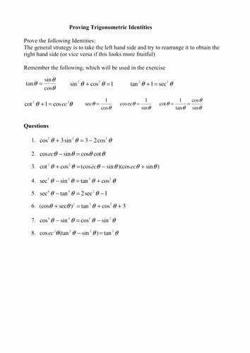 Verifying Trig Identities Worksheet Lovely Verifying Trigonometric Identities Worksheet