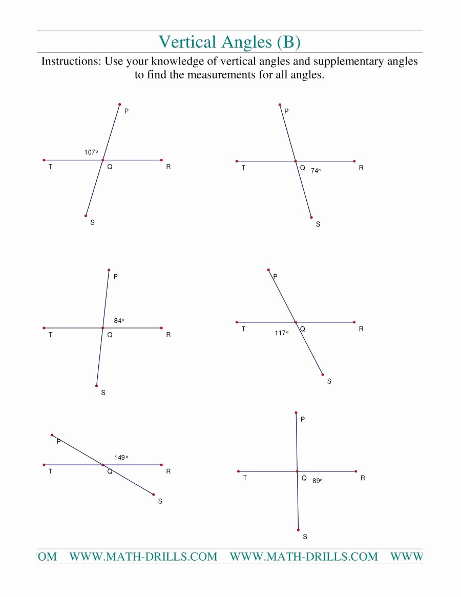 Vertical Angles Worksheet Pdf Awesome Vertical Angles B Geometry Worksheet