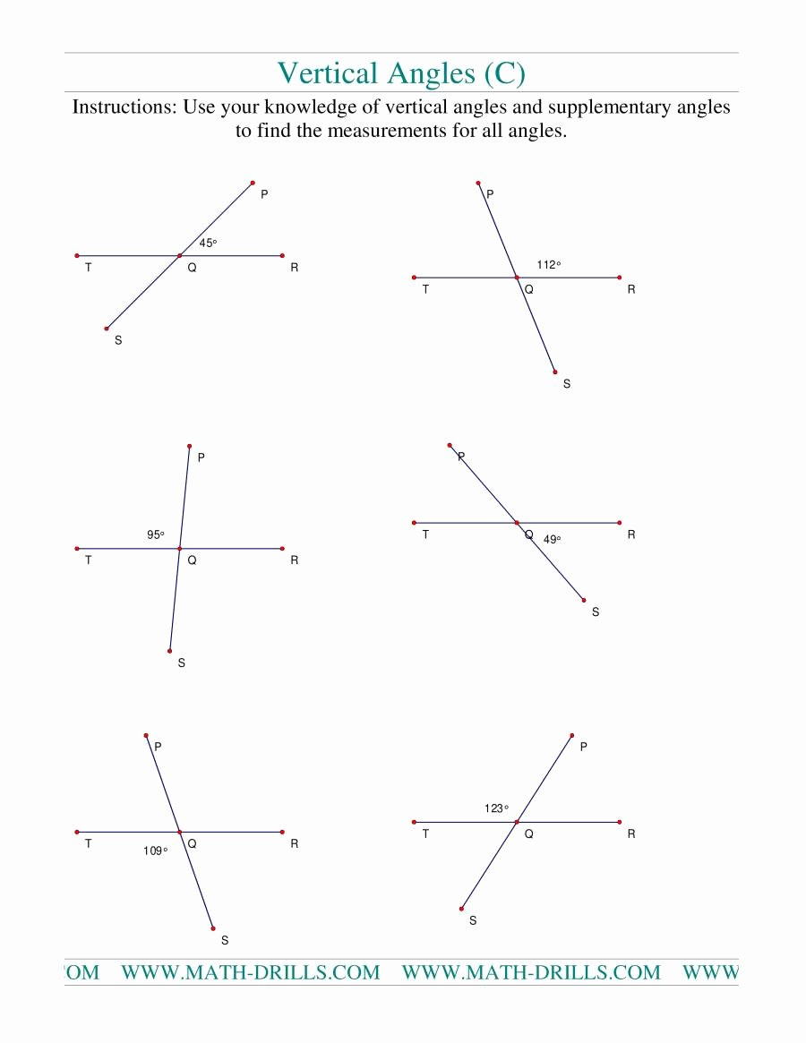 Vertical Angles Worksheet Pdf Best Of Vertical Angles C