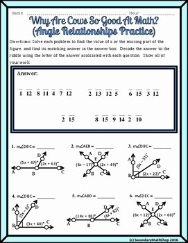 Angle Relationships Linear Pair Vertical plementary Riddle Worksheet