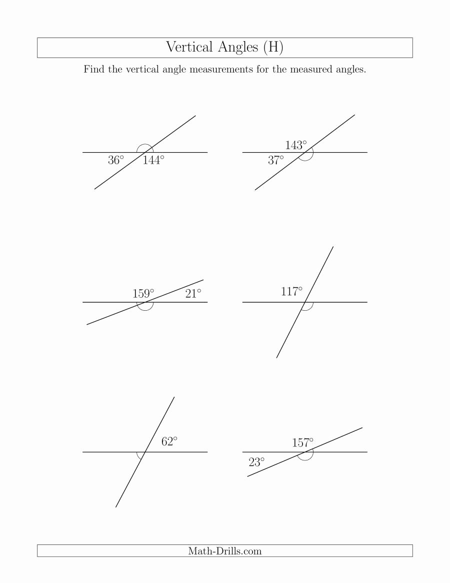 Vertical Angles Worksheet Pdf Fresh Vertical Angle Relationships H