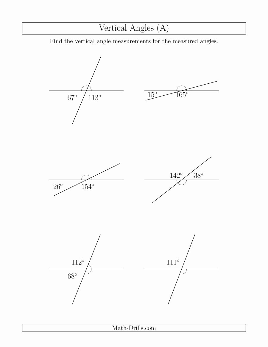 Vertical Angles Worksheet Pdf Lovely Vertical Angle Relationships A
