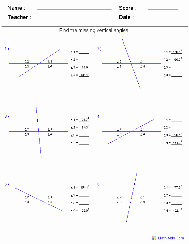 Vertical Angles Worksheet Pdf Luxury Geometry Worksheets