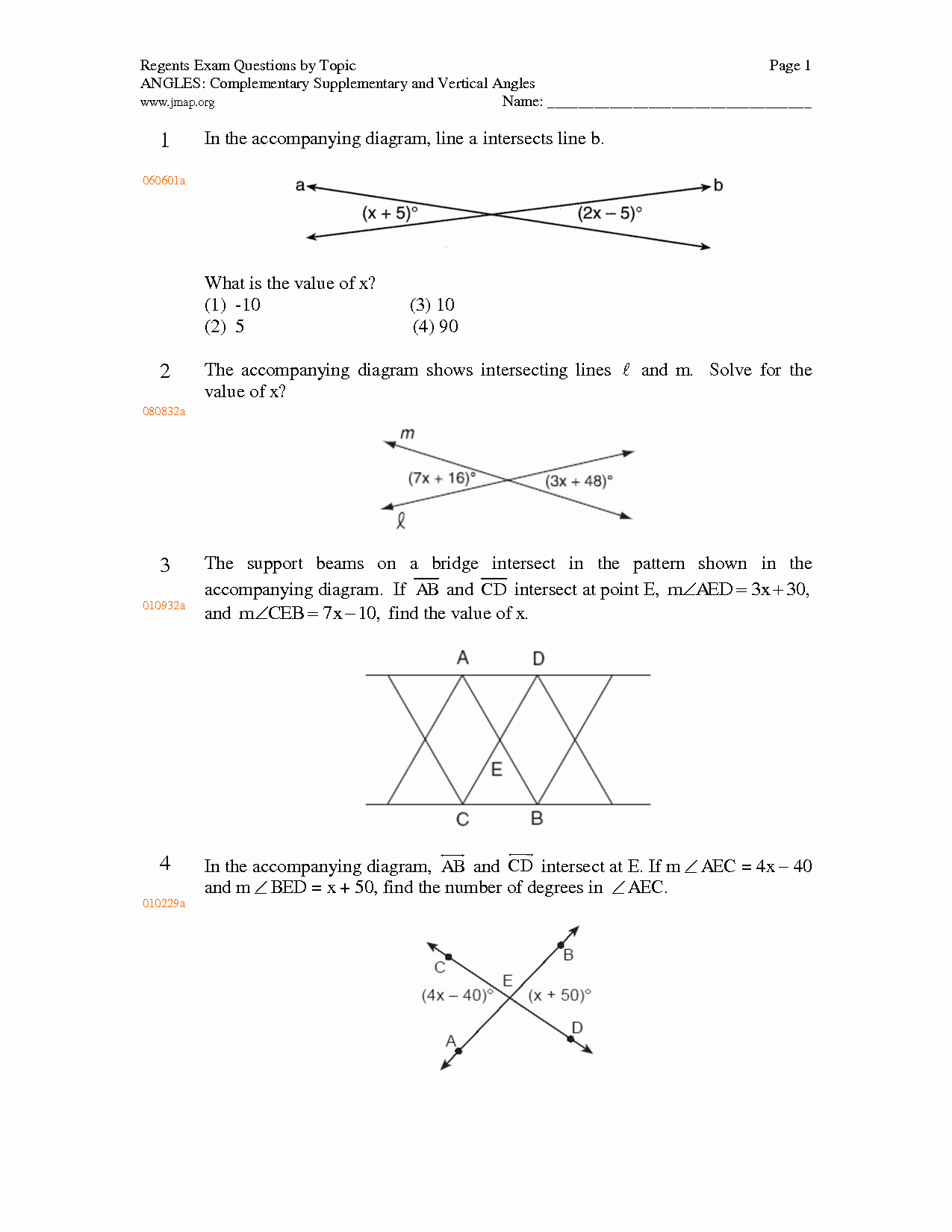 Vertical Angles Worksheet Pdf New Supplementary Plementary Vertical and Adjacent Angles