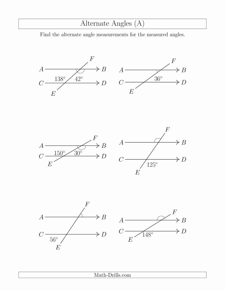 Vertical Angles Worksheet Pdf Unique Alternate Angles A