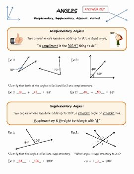 Vertical Angles Worksheet Pdf Unique Angles Plementary Supplementary Vertical & Adjacent