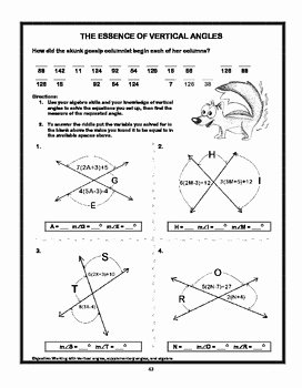 "Vertical Angles Worksheet Pdf Unique ""the Essence Of Vertical Angles"" by Value Added Publishing"