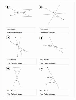 Vertical Angles Worksheet Pdf Unique Vertical Angles and Linear Pairs Partner Worksheet by