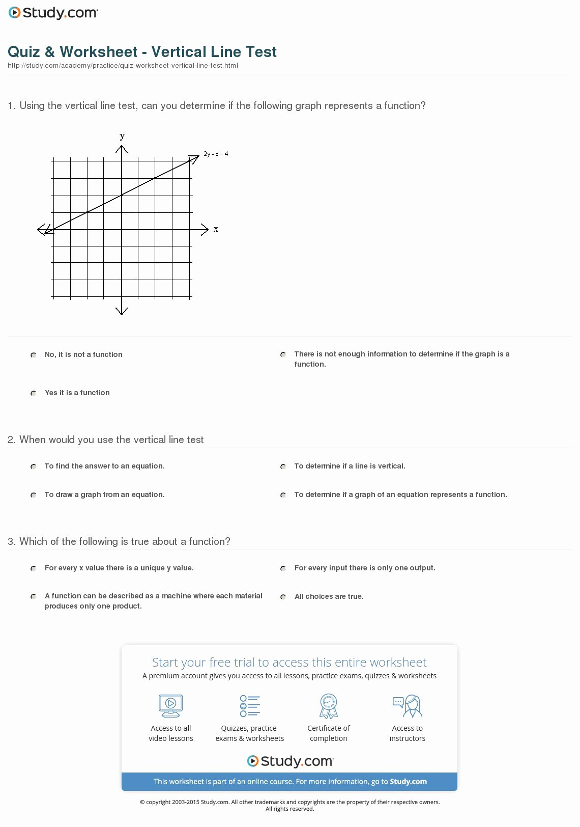 Vertical Line Test Worksheet Best Of Quiz & Worksheet Vertical Line Test