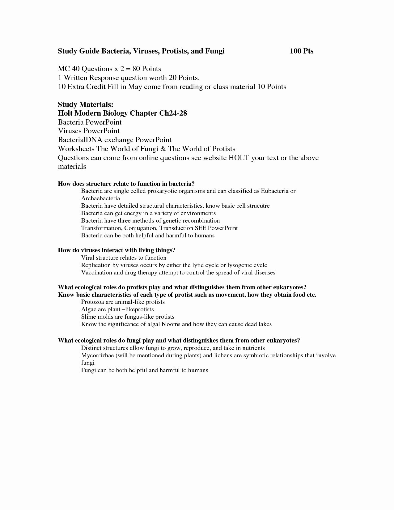Virus and Bacteria Worksheet Answers Best Of 14 Best Of Viruses and Bacteria Worksheets