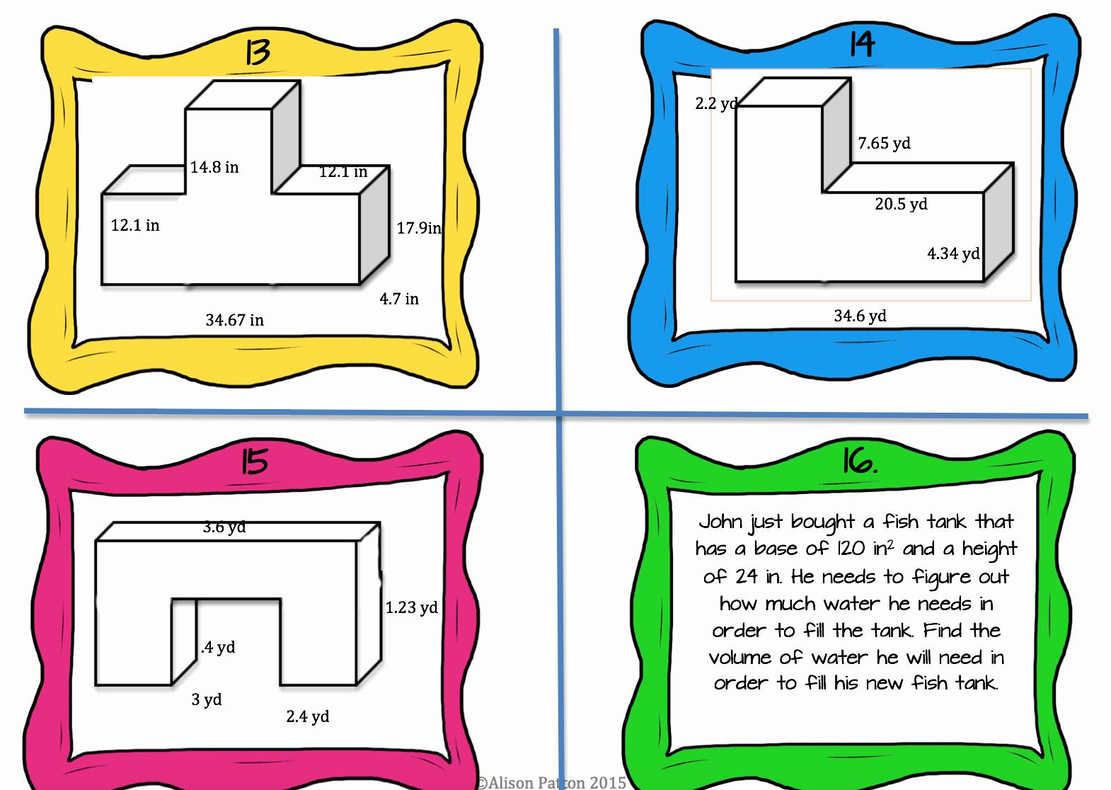 Volume Of Composite Figures Worksheet Beautiful Volume Of Posite Figures Task Cards
