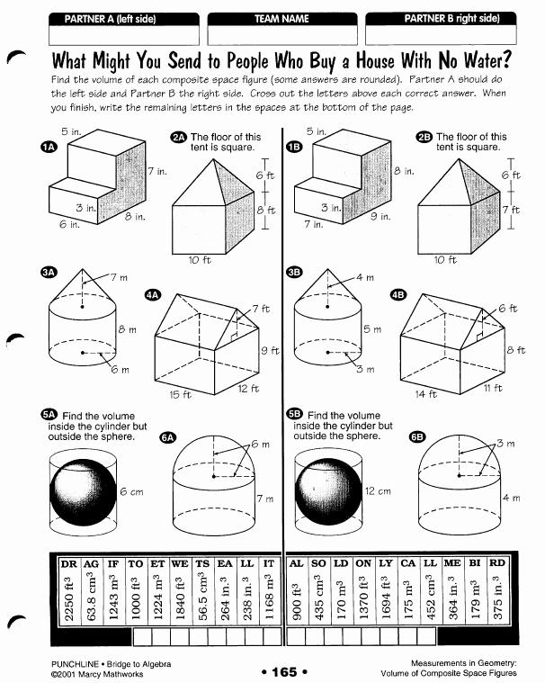Volume Of Composite Figures Worksheet Elegant area Sa Volume Algebra