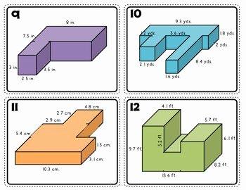 Volume Of Composite Figures Worksheet Elegant Volume Of Posite Rectangular Figures Task Cards 5th
