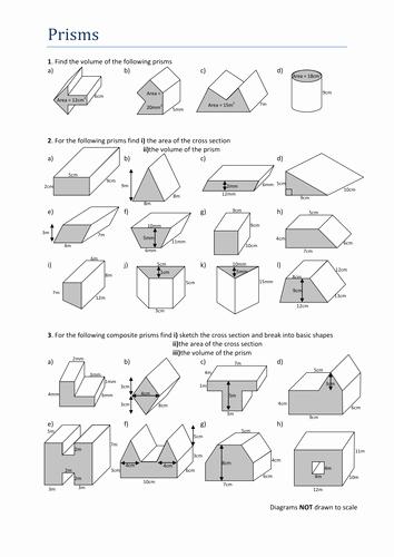 Volume Of Composite Figures Worksheet Lovely Volumes Of Prisms Worksheet by Tristanjones