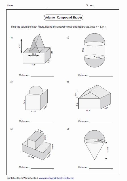 Volume Of Composite Figures Worksheet Luxury Volume Worksheets