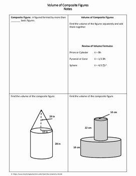 Volume Of Composite Figures Worksheet New Geometry Worksheet Volume Of Posite Figures by My