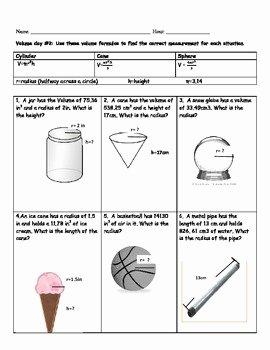 Volume Of Cylinders Worksheet Awesome Cylinder Cone and Sphere Volume Worksheet by Kelbelle418