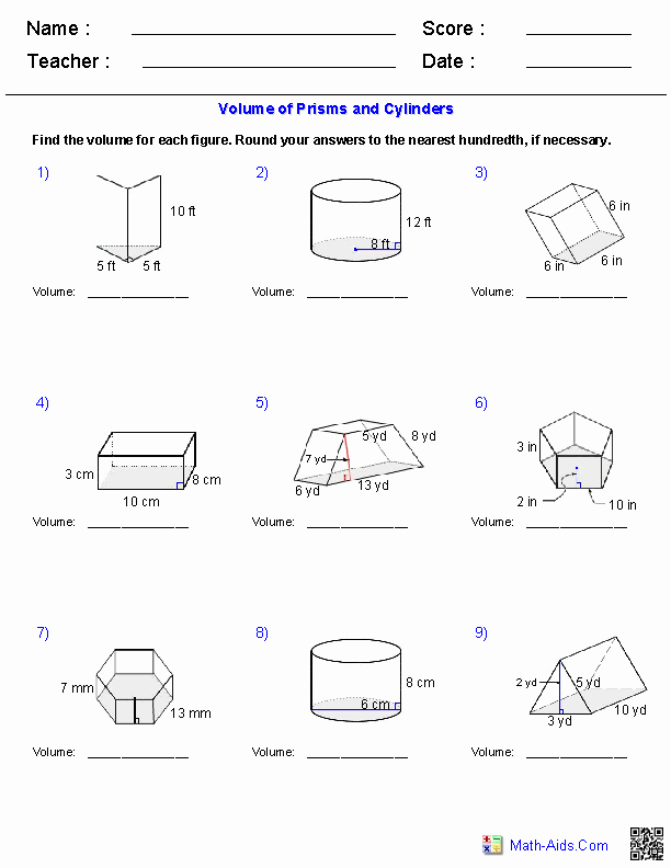Volume Of Cylinders Worksheet Awesome Prisms and Cylinders Volume Worksheets