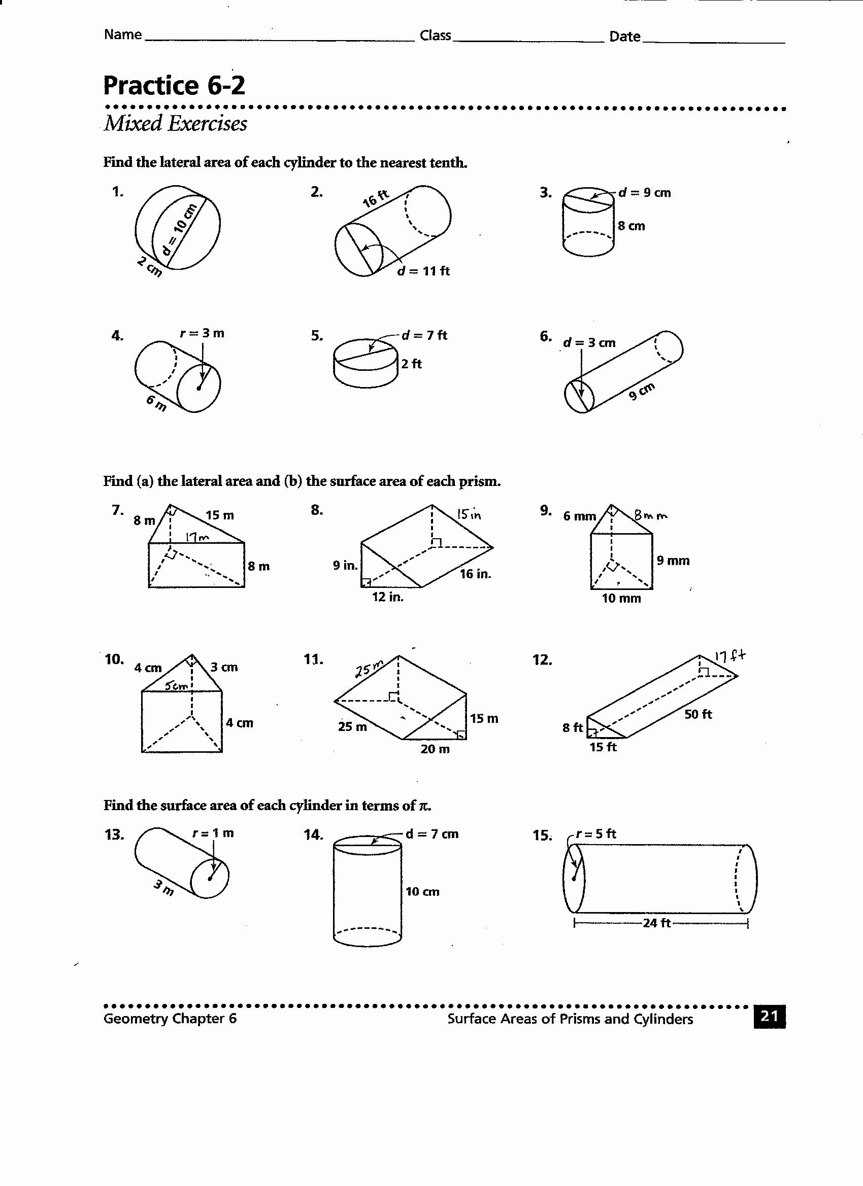 Volume Of Cylinders Worksheet Beautiful 41 Volume Prisms and Cylinders Worksheet Quiz