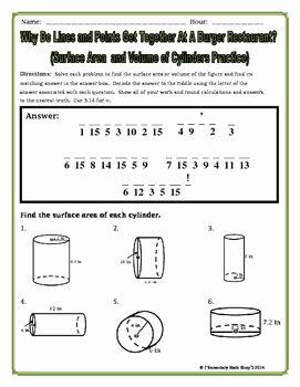 Volume Of Cylinders Worksheet Beautiful Surface area and Volume Cylinders Riddle Worksheet by