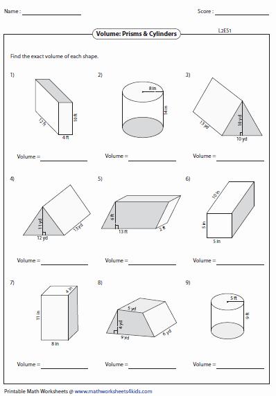 Volume Of Cylinders Worksheet Beautiful Volume Worksheets