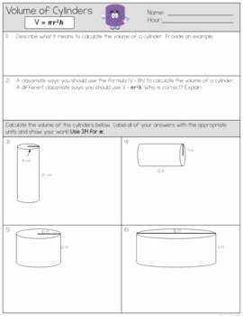 Volume Of Cylinders Worksheet Best Of Volume Of Cylinders Worksheets by the Clever Clover