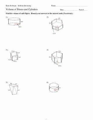 Volume Of Cylinders Worksheet Elegant Volume Prisms Worksheet