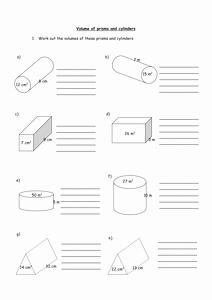 Volume Of Cylinders Worksheet Elegant Worksheet Volumes Of Prisms and Cylinderscx