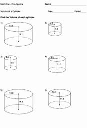 Volume Of Cylinders Worksheet Fresh Volume A Cylinder Worksheets Mathvine